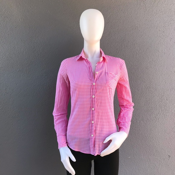 J. Crew Tops - J Crew The Perfect Shirt Pink Gingham Size XXS